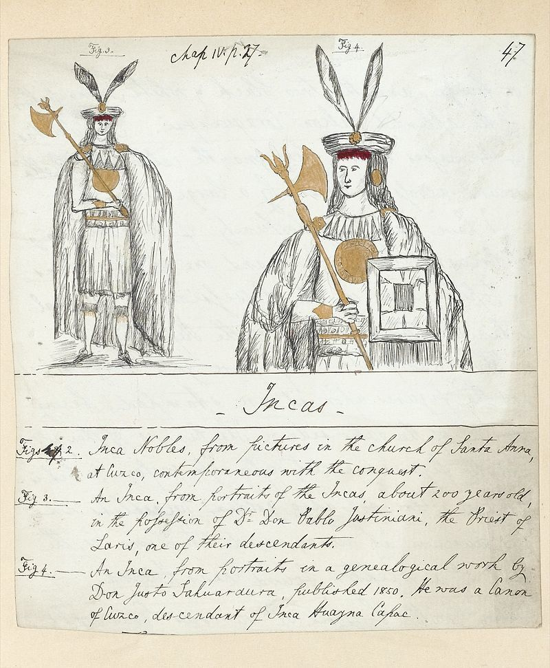 Sketches of Inca nobles in full costumes. Wellcome L0042060 » par http://wellcomeimages.org/indexplus/obf_images/26/10/741d2ab394abeed88074ae8227a9.jpgGallery: http://wellcomeimages.org/indexplus/image/L0042060.html. Sous licence CC BY 4.0 via Wikimedia Commons.