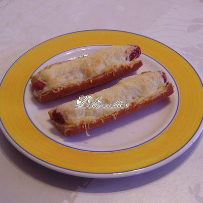 Baguettes gratinées aux saucisses