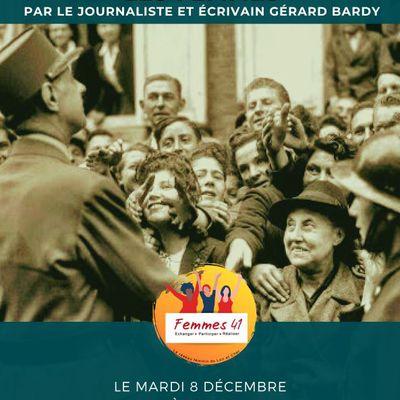 Invitation visioconférence gratuiteZoom sur «Charles de Gaulle et les femmes» par Gérard Bardy,journaliste et écrivain, lemardi 8 décembre 2020 à 18 H 30