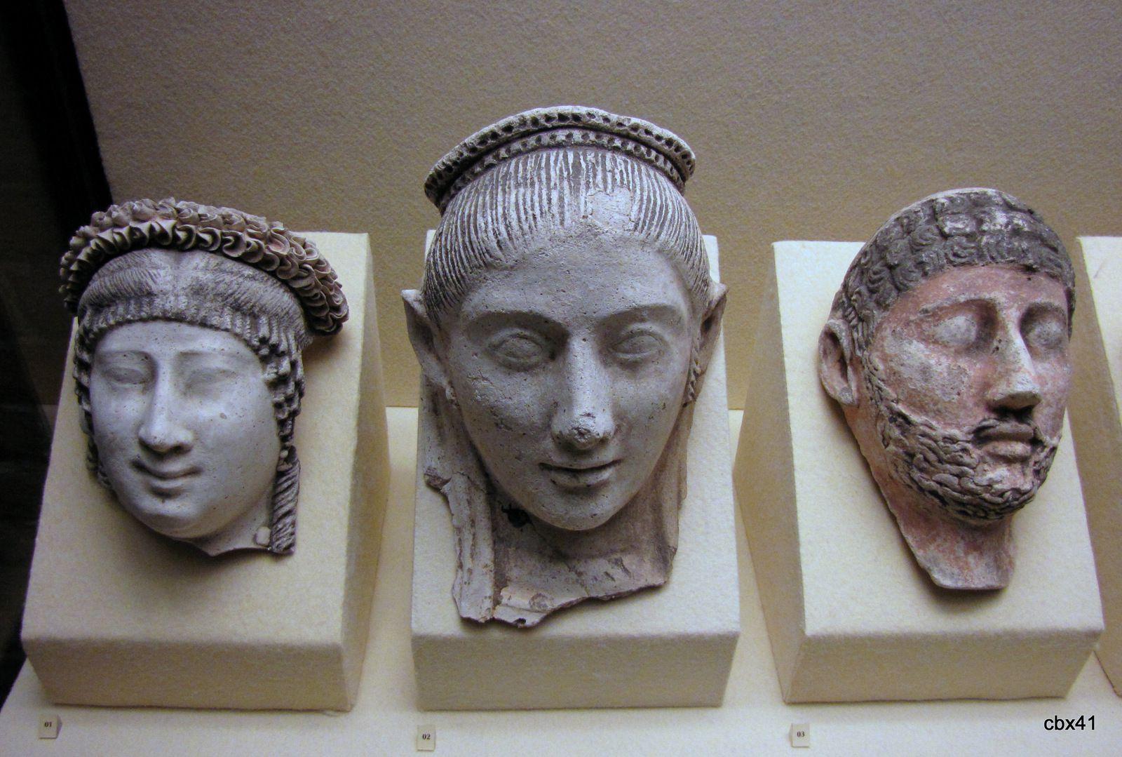 Masques funéraires d'époque romaine, musée de Picardie