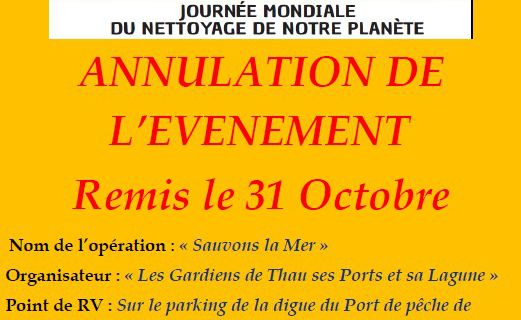 Annulation Evènement World Cleanup Day 2020