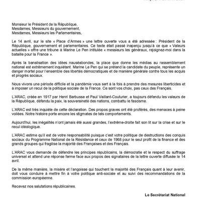 Communiqué de l'ARAC après la lettre des militaires dans Valeurs actuelles
