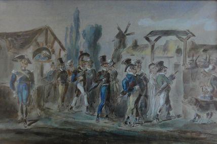 gouache , cérémonie de mariage , officier de sapeur pompier , gendarme  , par Alexandre Dupendant (1833-1884 )