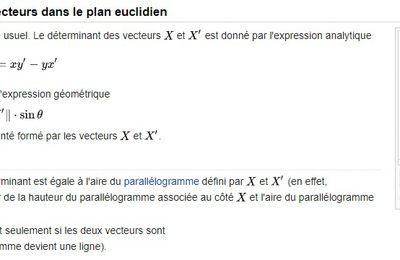 PREPA MATHS - Déterminant de deux vecteurs dans le plan euclidien