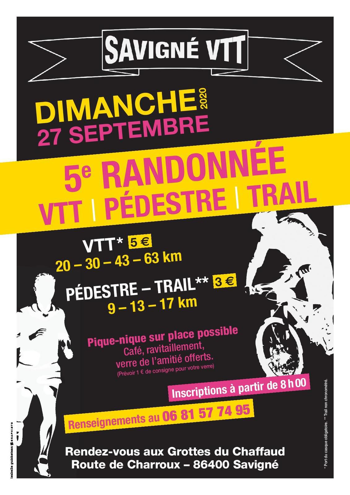 Dimanche 27 septembre 2020 :5ème randonnée de VTT à Savigné