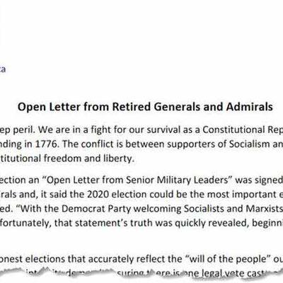 #USA : 120 généraux et officiers militaires à la retraite signent une lettre mettant en garde contre un conflit entre marxisme et « liberté constitutionnelle ».