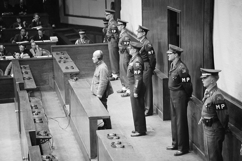 Tojo, appearing before the International Military Tribunal in Tokyo on Nov. 12, 1948, was sentenced to death by hanging for his war crimes.Credit...Charles Gorry/Associated Press