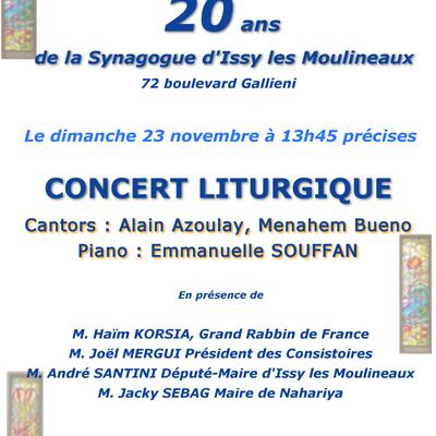 Concert à Issy pour les 20 ans de la Synagogue