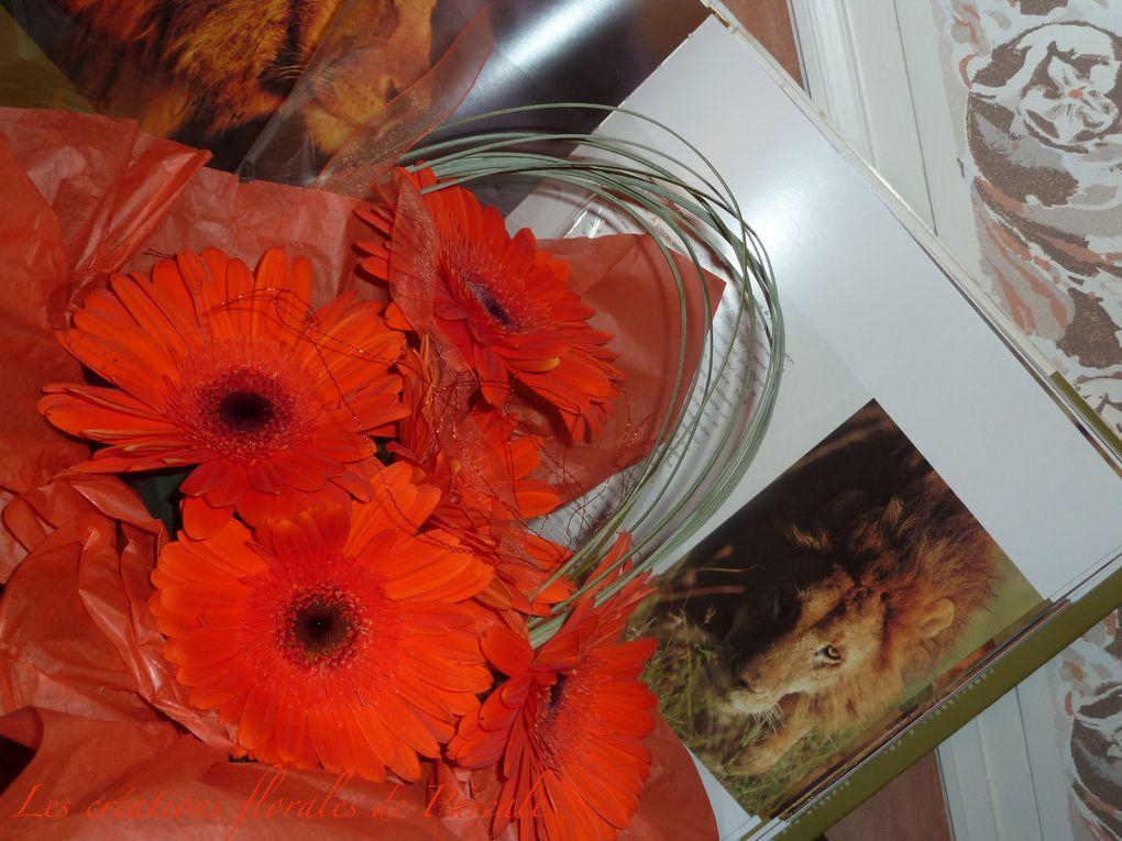 Créations florales originales dans une boite.