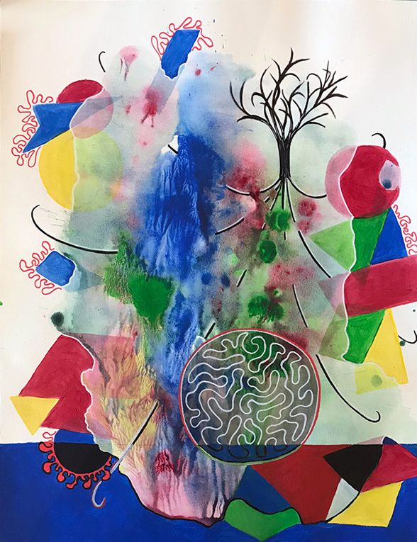 4 étapes d'une composition en cours de réalisation - Colette Yazigi