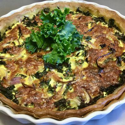 Tarte au chou kale et au curcuma