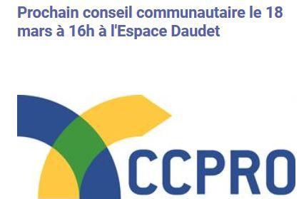 Conseil communautaire 18 mars 2021, 16 h à Daudet.