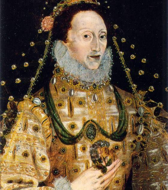 """Les tableaux cachent parfois des énigmes , et certains peuvent nous révéler leurs secrets bien longtemps après leur création. C'est le cas de ce portrait de la reine Elisabeth I peint vers 1580 : pendant plusieurs siècles , ce tableau représentait la Reine un bouquet à la main mais la toile s'abîmant , ce bouquet de roses a révélé à sa place un serpent. C'est donc un serpent que tenait dans la main la Reine, dans cette """"première version"""" que l'on a volontairement masqué. Elisabeth I fut l'une des plus célèbres souveraines d'Angleterre."""