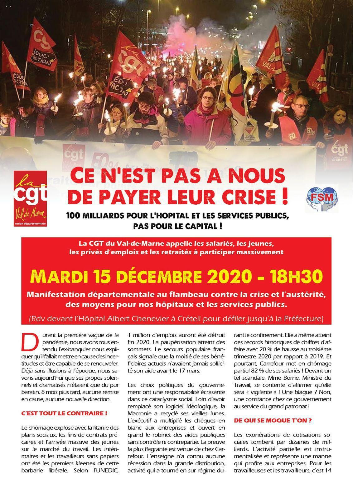 Ce n'est PAS À NOUS de payer LEUR CRISE ! Manifestation à Créteil (94) mardi 15 décembre 2020