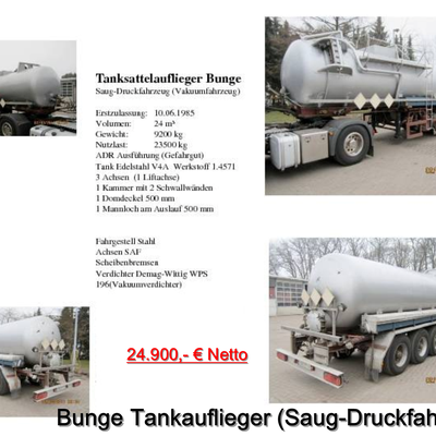 Bunge Tankauflieger Saug-Druckfahrzeug (Vakumfahrzeug)