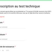 Inscription au test technique