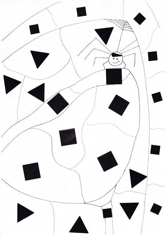 """Puzzles à colorier ou """"dessins magiques"""" créés par des enfants de 8 ans à partir des illustrations originales du livre. Chaque morceau du puzzle de même symbole doit être colorié avec la même couleur, librement ou d'après un code."""