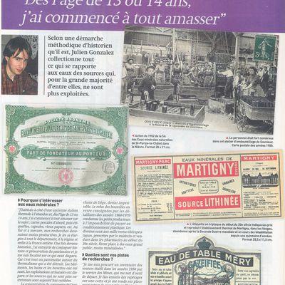 """Article paru dans """"Collectionneur et Chineur"""" du 3 février 2012 présentant ma collection sur les eaux minérales oubliées"""