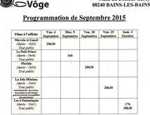 Cinéma : programmation de Septembre 2015