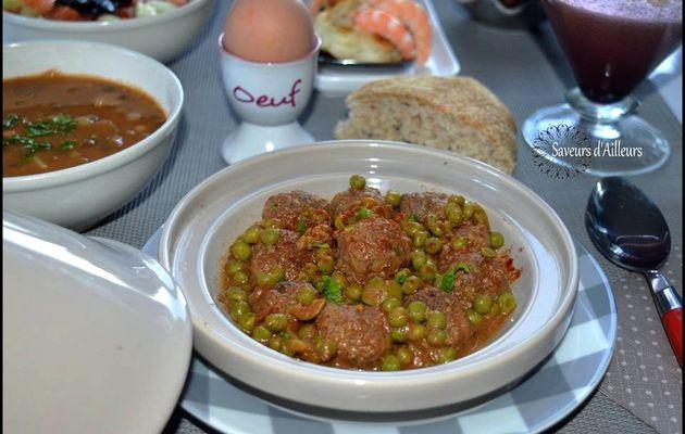 Tajine de Kefta (boulettes de viande) aux petits pois