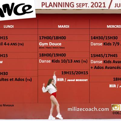 Rentrée Septembre 2021 Planning