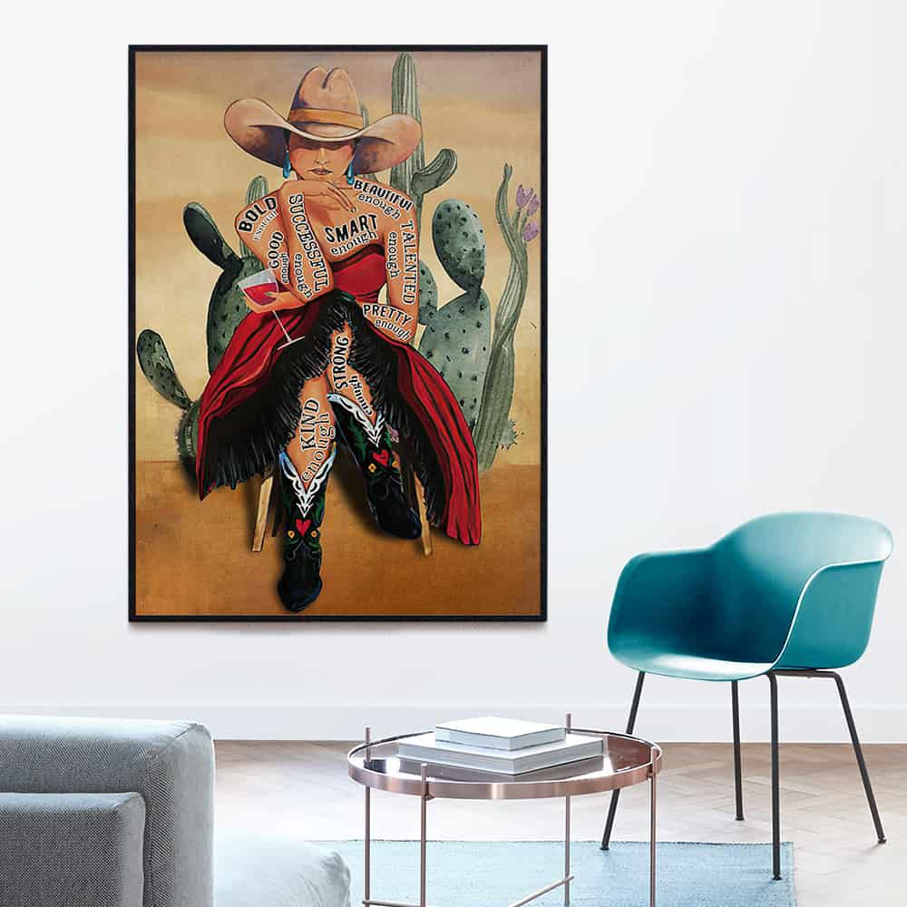 Cowgirl and Wine I Am Enough Beautiful Bold Good Talented Enough poster, canvas