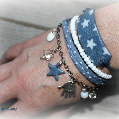 Bracelet multirangs , plaque en fimo étoile ...
