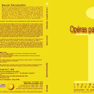 "CD# 18 ""opéras parlés"" David Christoffel"