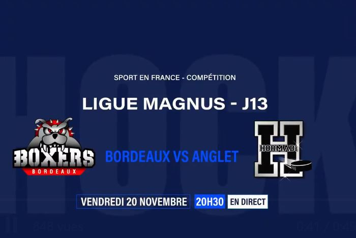 Bordeaux / Anglet (Ligue Magnus) en direct vendredi sur Sport en France !