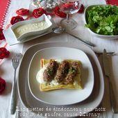 Languettes de dindonneau aux noix sur lit de gaufre sauce Mornay - Chez Mamigoz