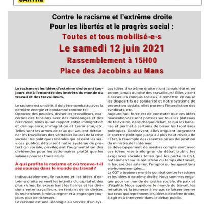 ✊✊✊ Contre le racisme et l'extrême droite, pour les libertés, toutes et tous mobilisé-e-s  samedi 12 juin 2021 à 15H place des Jacobins au Mans ✊✊✊
