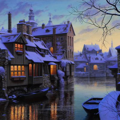 Canal - Barques - Maisons - Lumière - Hiver - Neige - Wallpaper - Free