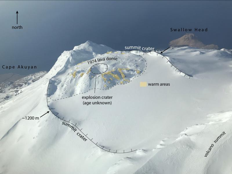 Great Sitkin - morphologie du cratère sommital - Doc. archives Avo / Waythomas Chris 03.2020 - un clic pour agrandir