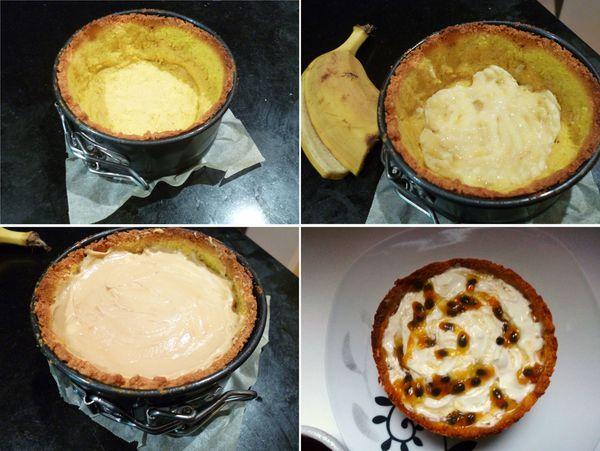 Cheesecake au caramel, banane et passion, sirop de chocolat