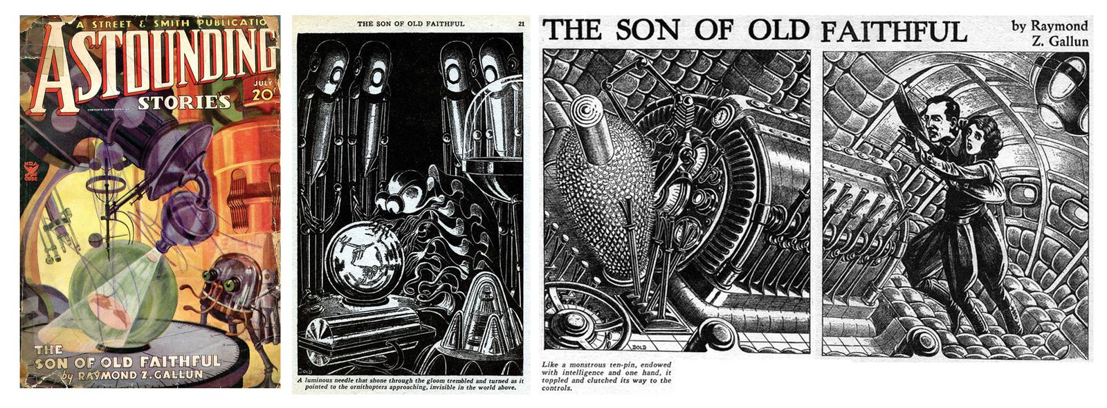 The Son of Old Faithful dans Astounding Stories du 22 avril 1935 illustré par Elliot Dold