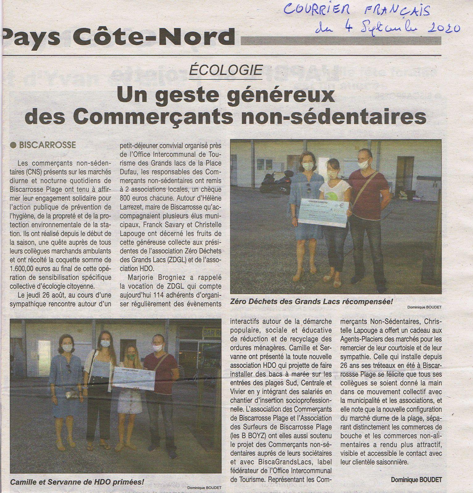 La presse parle de l'AG 2020 et de l'engagement des commerçants de Biscarrosse-Plage