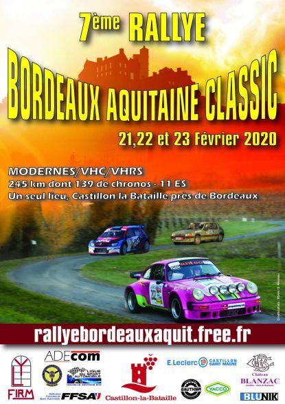 Calendrier de la coupe de France des rallyes 2020 Comité Nouvelle Aquitaine Sud
