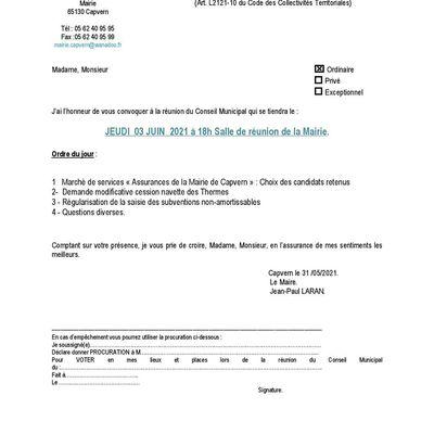 Conseil Municipal - Le 3 juin 2021 à 18h