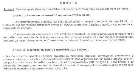 Arrêté Préfectoral portant diverses mesures visant à freiner la propagation du virus Covid-19dans le département de l'Isère