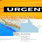 Un séisme de magnituge 7.3 frappe le sud-ouest du Pérou,certains médias évoquent une alerte au tsunami 14/01/2018