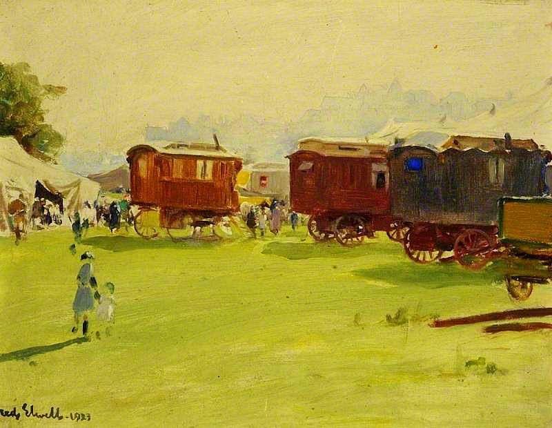Le cirque, une source d'inspiration pour le peintre anglais Frederick William Elwell, (1870–1958)