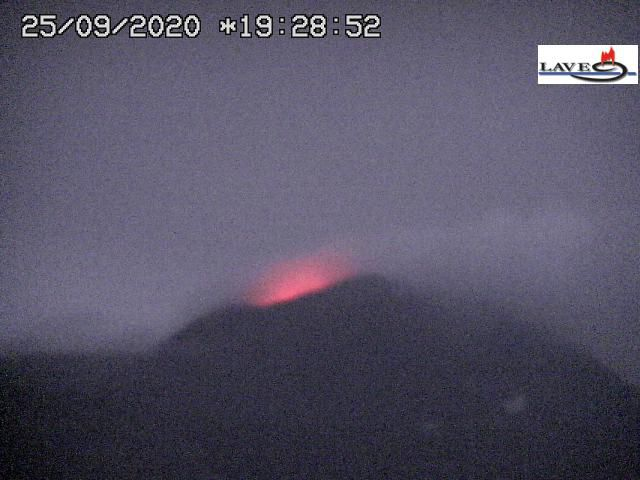 Etna NSEC - activity from 24.09.2020 / 22h28 and from 25.09.2020 / 19h28 - Webcam LAVE