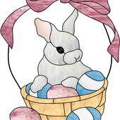 Vitrail ' Lapin de Pâques ' - Vitrail Tiffany