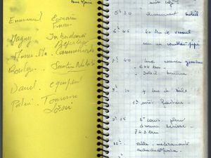 Page 1 et 2 du carnet de bord de Anne-Marie.