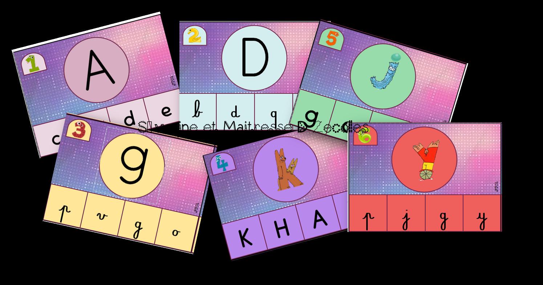 Les alphas : Cartes à pinces 6 niveaux avec toutes les lettres et graphies