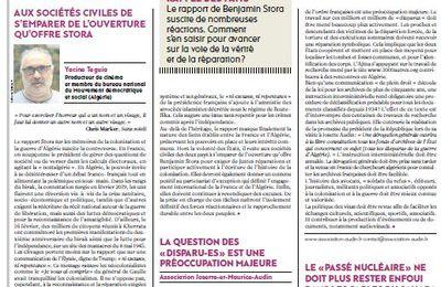 """Sur le site de l'Humanité """"France-Algérie: quel travail de reconnaissance après le rapport Stora?"""""""