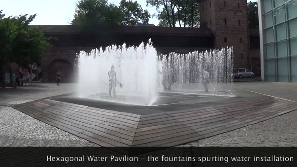 Hexagonal Water Pavilion by Jeppe Hein in Nuremberg