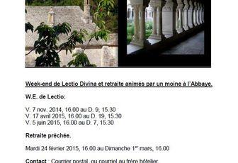 WEEK-END DE LECTIO DIVINA ET RETRAITE PROPOSES PAR L'ABBAYE DE SENANQUE