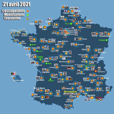 104 occupations, mercredi 21 avril à 16H16