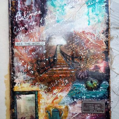 Mixed Media Art Journal page - Automne